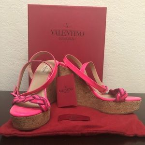 Trendy Neon Pink Valentino wedges